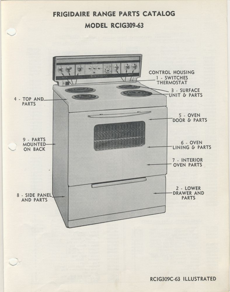Frigidaire Stove Parts Canada 1960 Through 1966 Frigidaire Range Id Guide