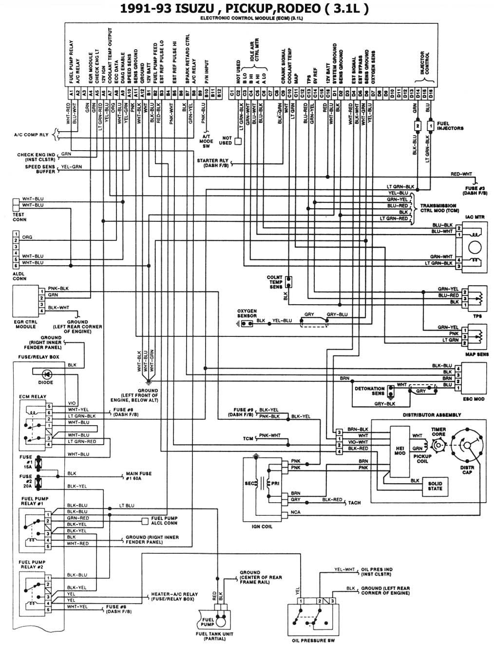 isuzu diagrama de cableado de la computadora