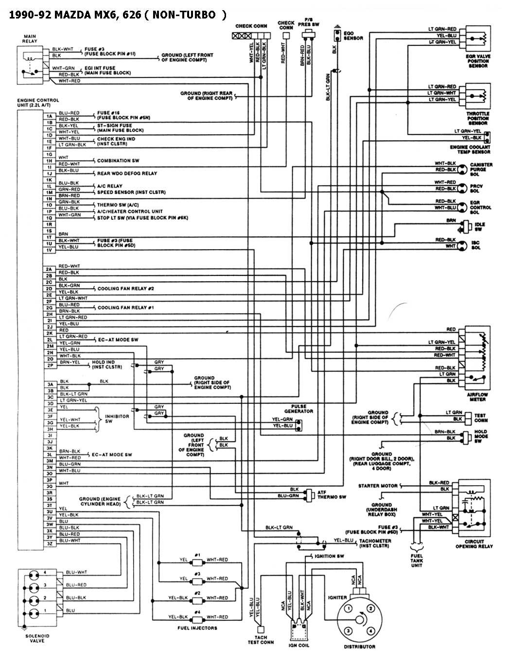 diagrama de cableado 1990 mazda miata