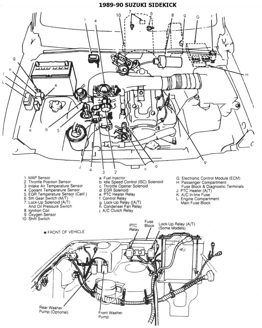 1998 geo tracker Diagrama del motor