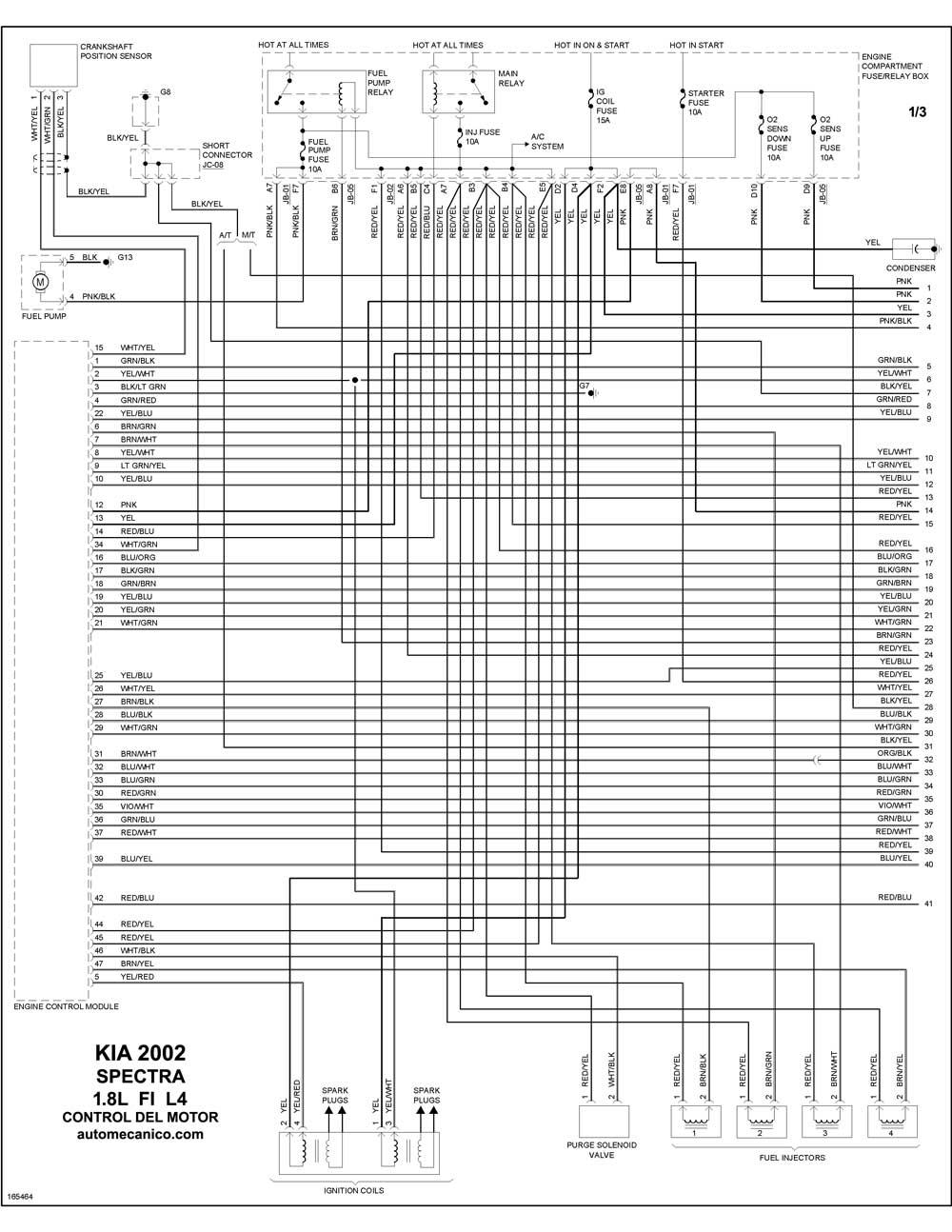 2008 kia rio Diagrama del motor