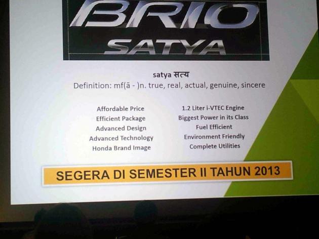 Honda Brio Satya LCGC Honda Indonesia