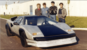 Horacio Pagani (first from right) with a developmental Countach