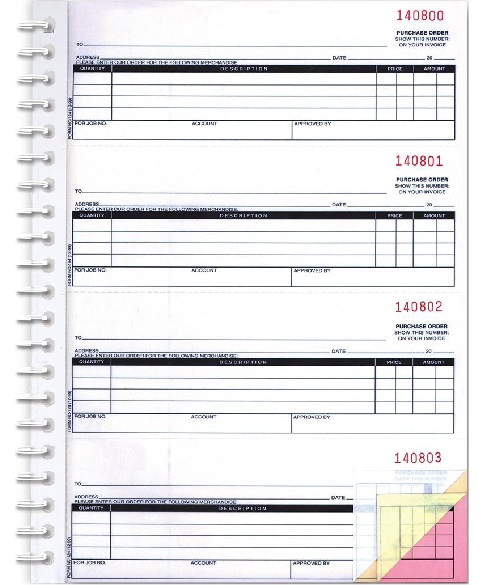 Purchase Order Book / PO Book - Auto Tech  Niles Marketing LLC - purchase order template office