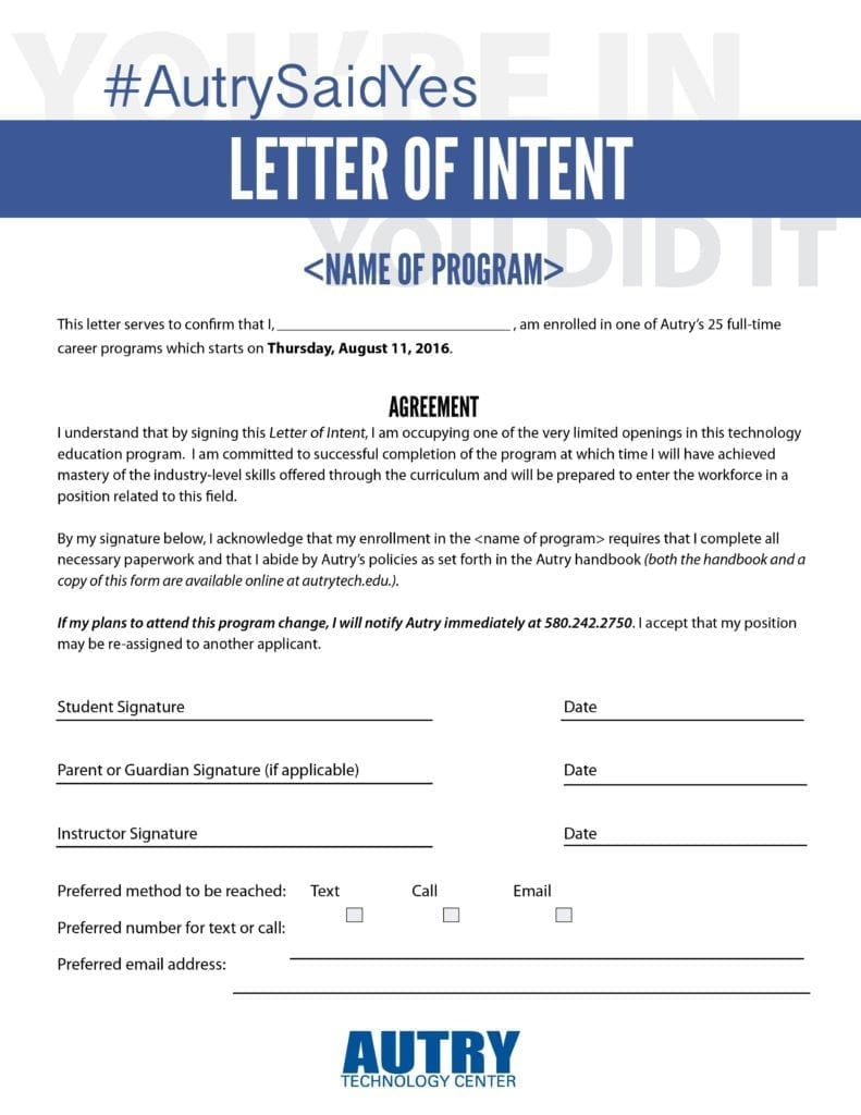 Resume templates letter of intent