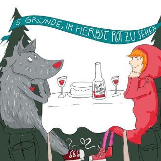 Rotkäppchen und der Wolf beim Flörten