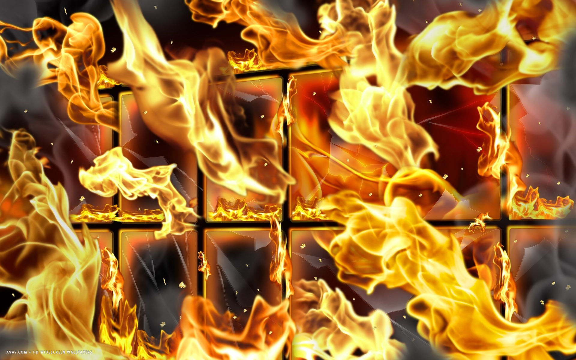 3d Grid Wallpaper 3d Flames Abstract Grid Cage Window Fire Hd Widescreen