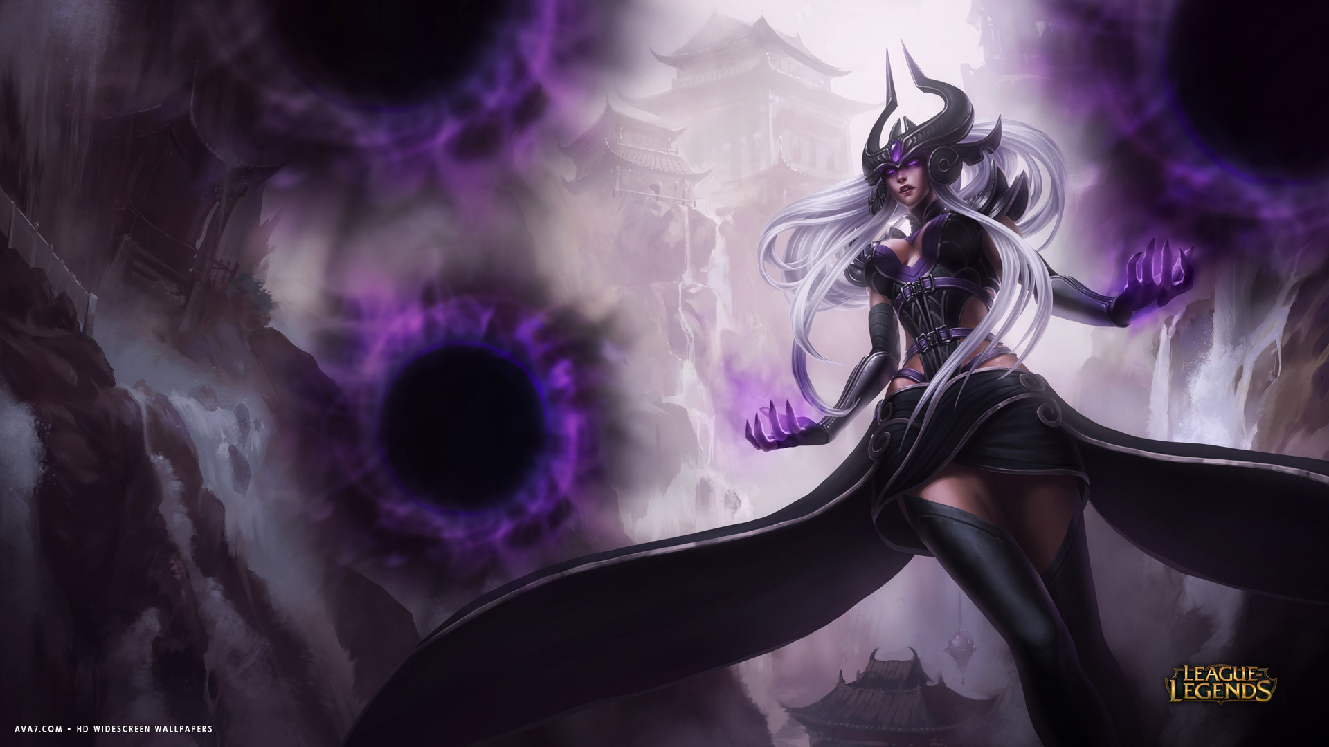 Soccer Girl Wallpaper League Of Legends Game Lol Syndra Evil Purple Magic Hd