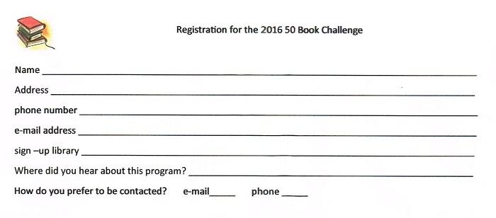 50 Book Challenge registration form \u2013 Avalon Public Library