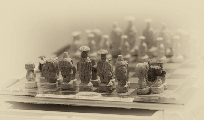Valery Vykvyragtyrgyrgyn's Chess Set. Set to travel around the world. Photo © 2013 Galya Morrell