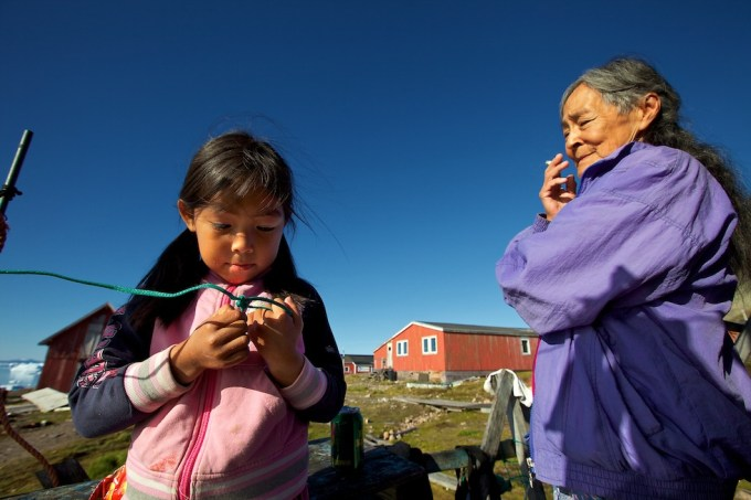 Judith, the granddaughter of the Great Polar bear hunter Qaanngaaq Nielsen. Savissivik, Northern Greenland. Photo © Galya Morrell