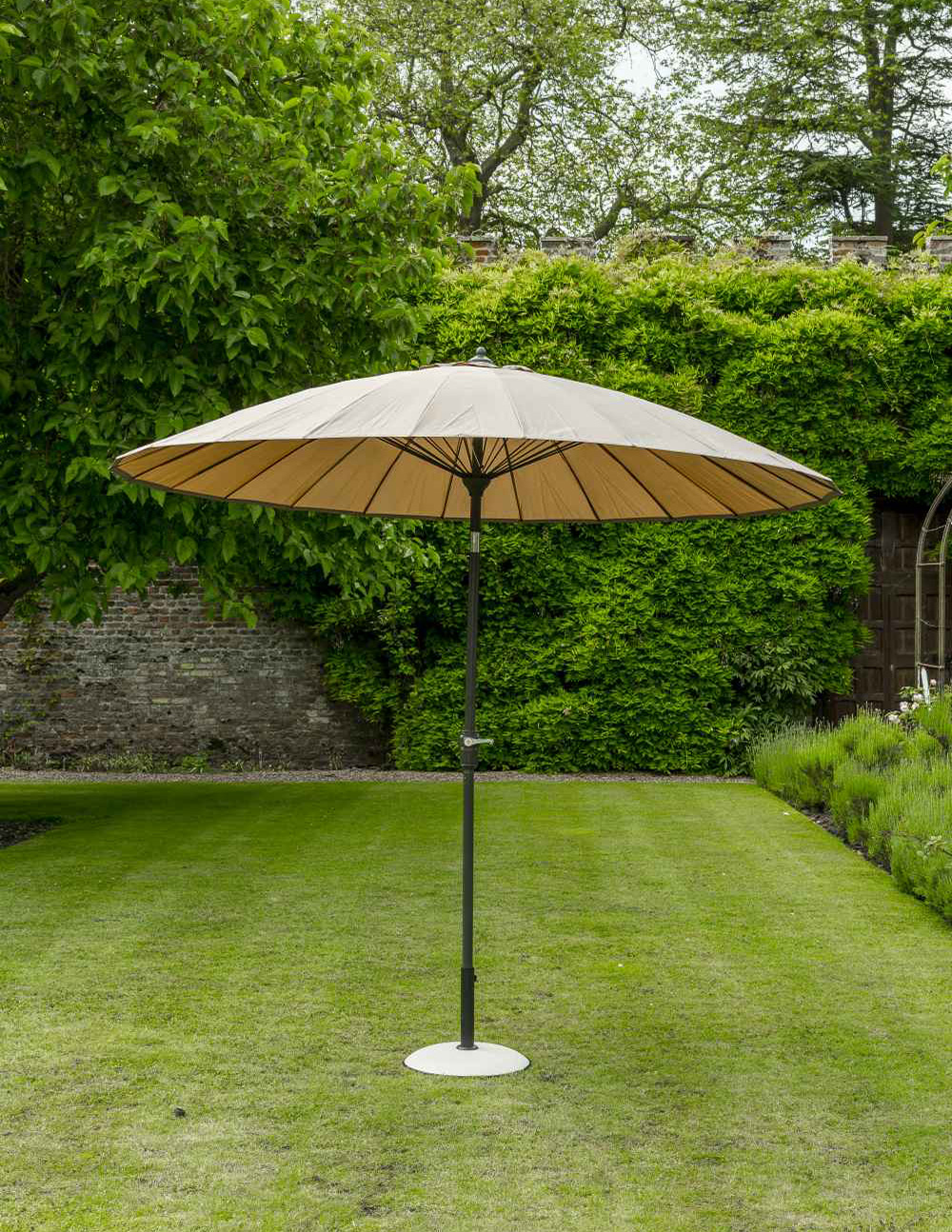 Exotic Eastern Style Taupe Ribbed Garden Parasol 2 7m Push Button Tilt - Parasol Taupe