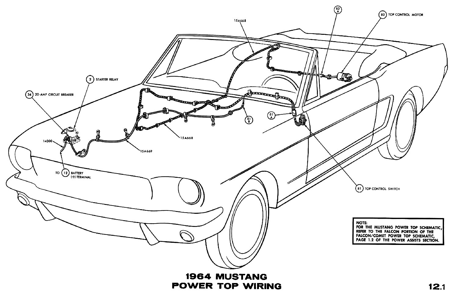 1964 mustang power top pictorial or schematic
