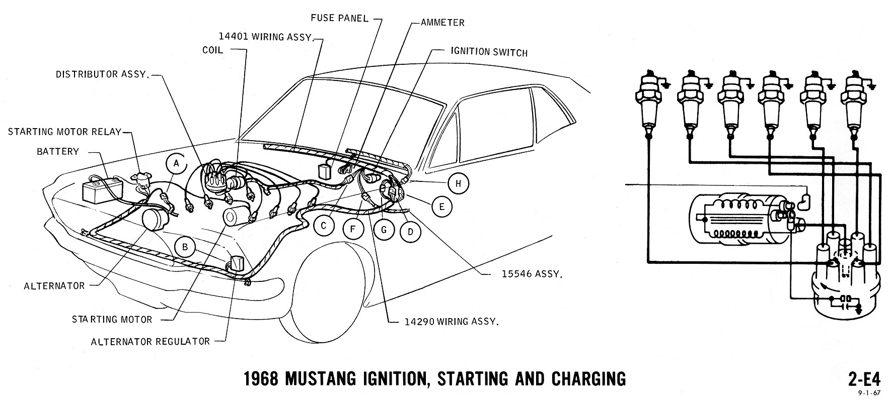 68 mustang charging wiring diagram