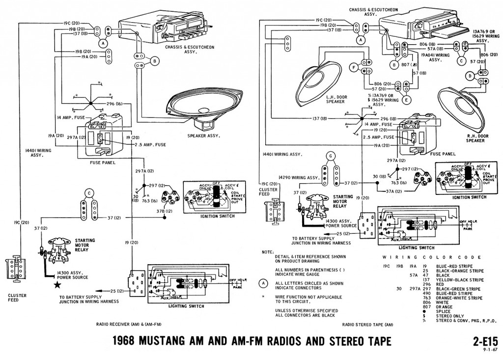 1968 mustang radio wiring diagram