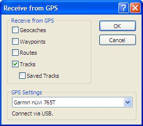 Import Track from Nuvi 765t