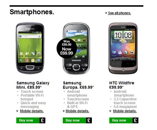 3 UK PAYG Smartphones