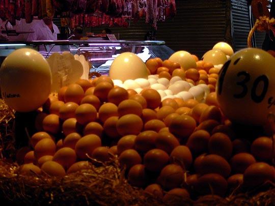 Eggs at la Boqueria in Barcelona