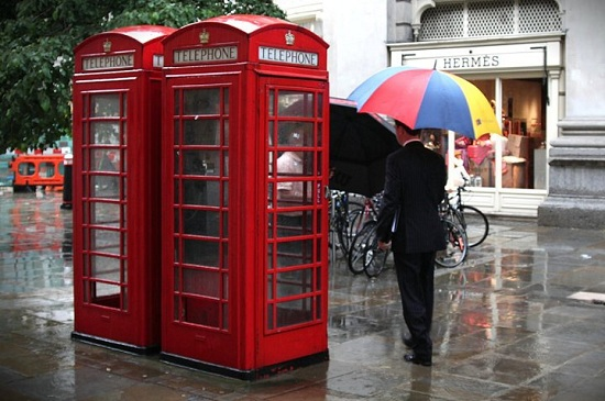 Colourful Umbrella and London Phone Booths