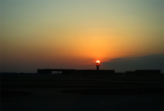 Sun Setting Behind Tower at Dallas Fort Worth