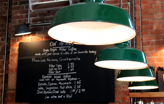 Monmouth Coffee Board at Borough Market