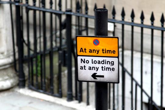 London No Loading at Any Time Sign