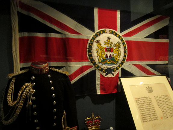 Colonial Flag of Hong Kong and Uniform Worn by Chris Patten