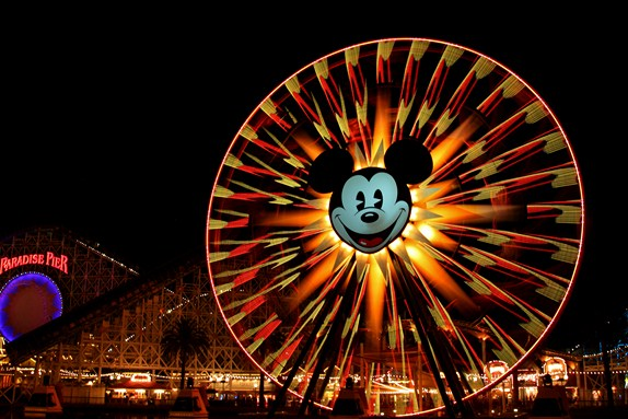 Mickey`s Fun Wheel Time Lapse at Disney California Adventures