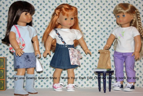Avery Lane Sewing Blog Projects from Sew in Style Book and Doll size Paper bag tutorial