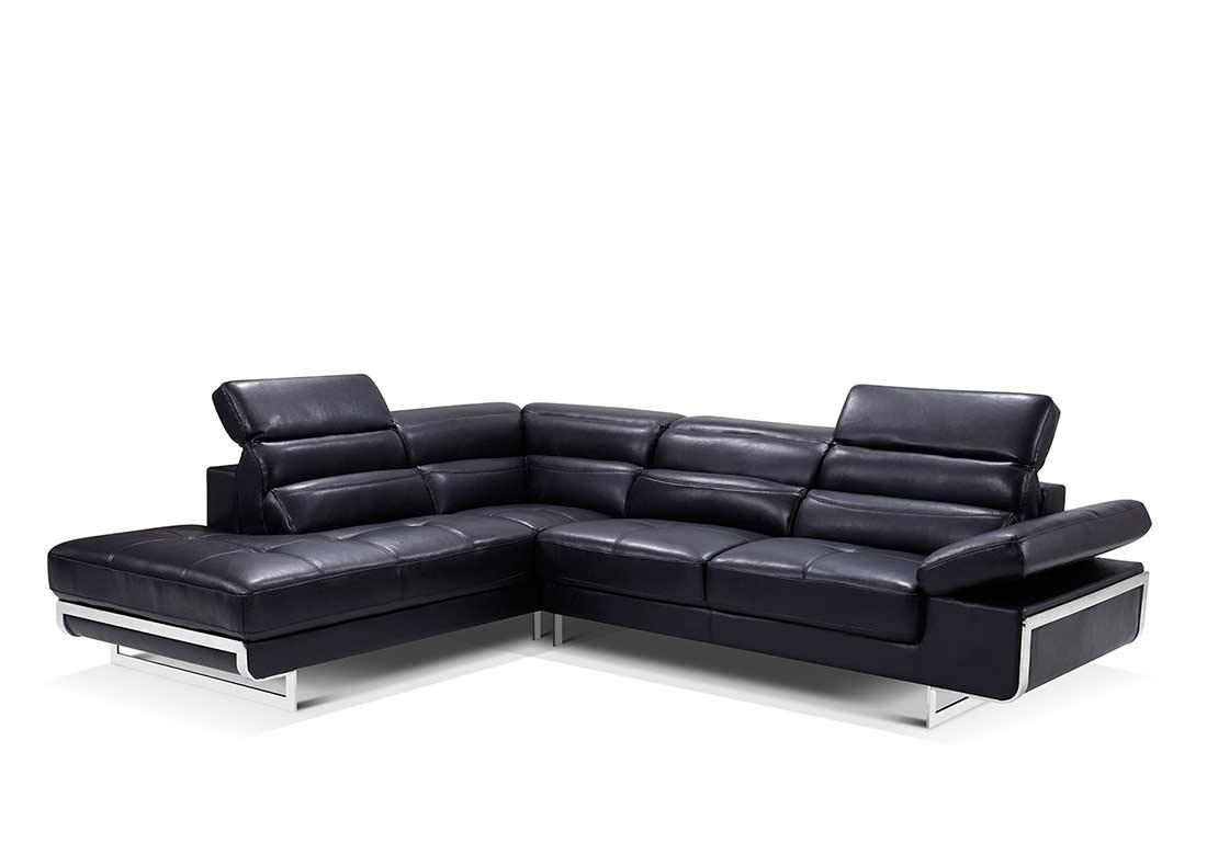 Modern Black Leather Sectional Sofa | Divani Casa 5102 Modern Black ...