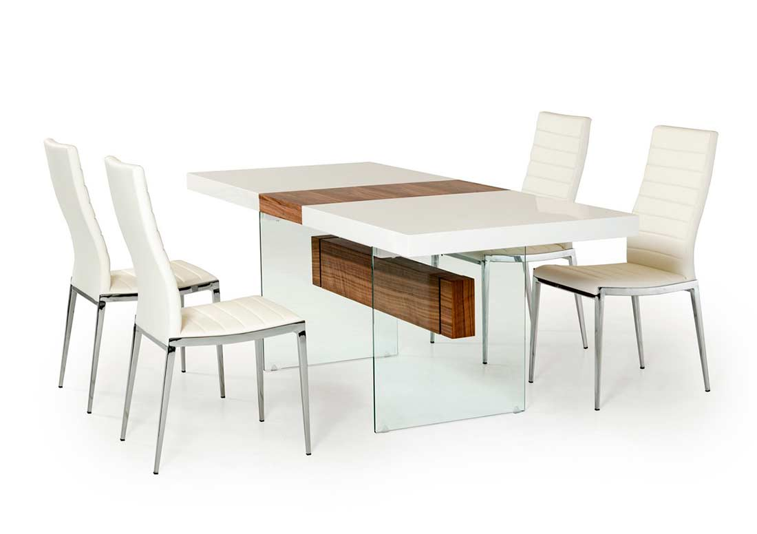Modern White Dining Table White And Walnut Extendable Dining Table Vg001 Modern Dining