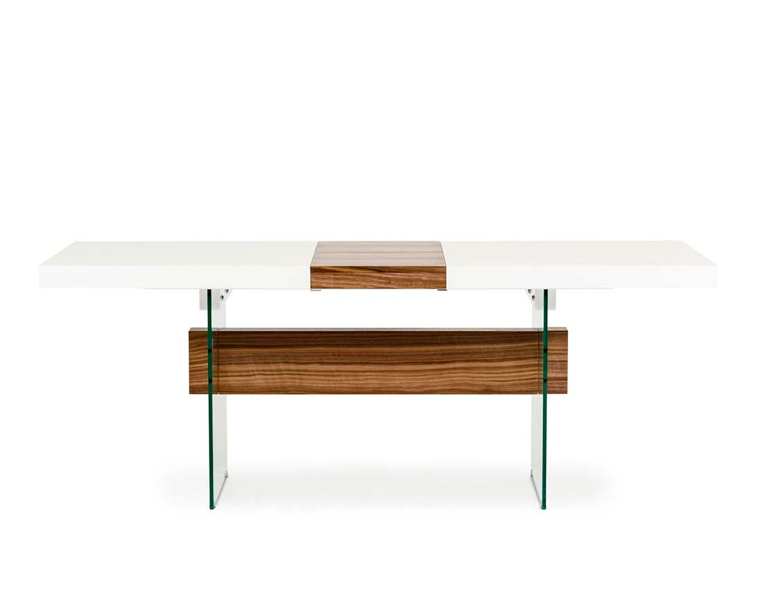White Dining Table Extendable White And Walnut Extendable Dining Table Vg001 Modern Dining
