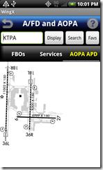 AFD airport diagram screen