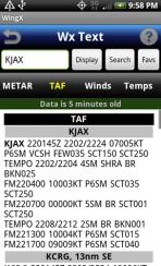 WingX weather - taf screen