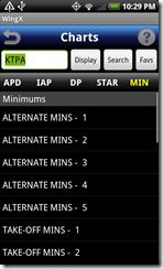 WingX Charts - airport minimums list