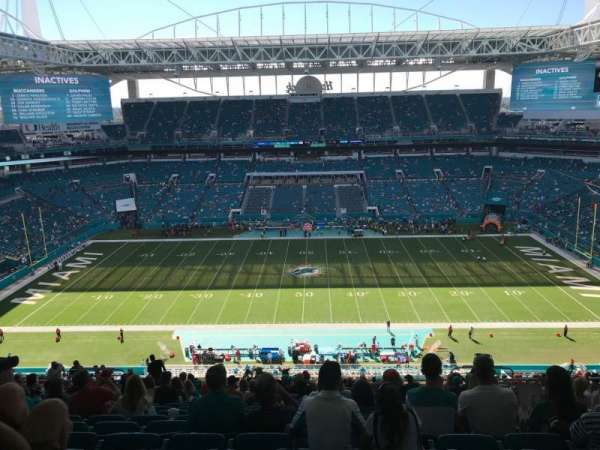 This seat is under an overhang at Hard Rock Stadium