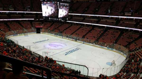 Is on the aisle at Honda Center