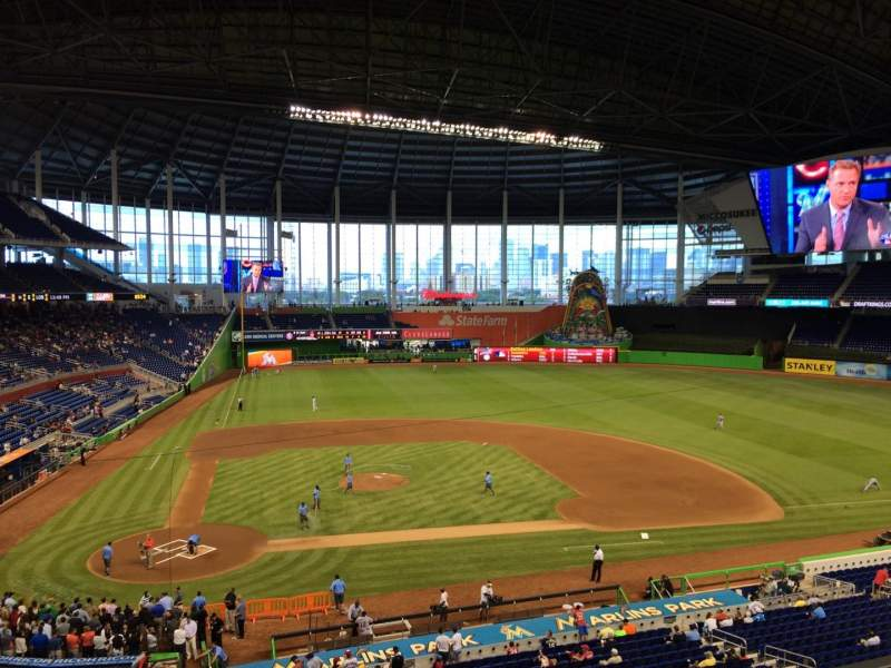 Marlins Park, section 211, row 1, seat 9 - Miami Marlins vs