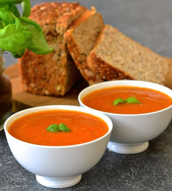 Easy Tomato & Basil Soup - A Virtual Vegan