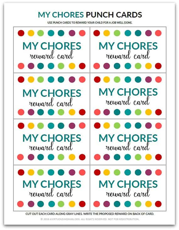 My Chores Punch Card - A Virtuous Woman - card