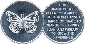 Butterfly with Serenity Prayer Aluminum Medallion