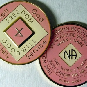 Narcotics Anonymous Pink and White Medallion