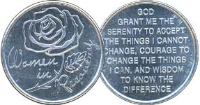 Woman In Recovery Rose Aluminum Medallion