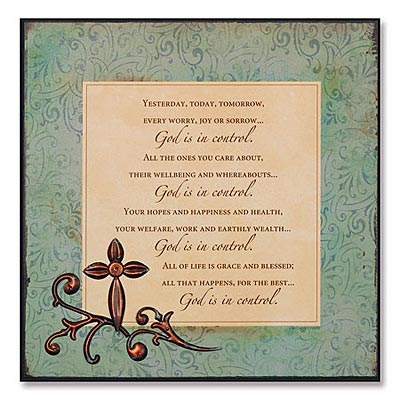 God is in Control Plaque