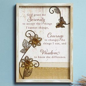 Serenity Prayer Whitewashed Wood Plaque