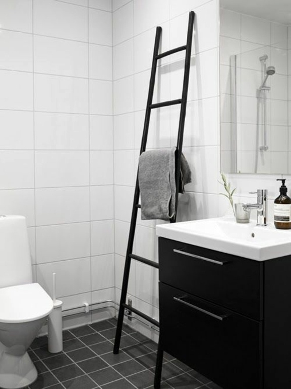 Rustic Modern Family Room Wooden Towel Ladder In Both Rustic As Well As In Modern