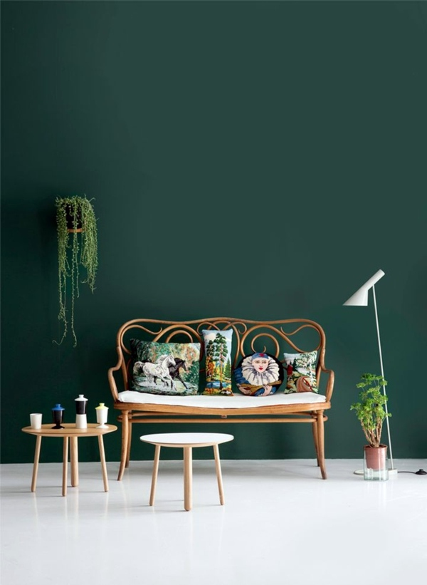 Blauw In Interieur Green Wall Color – Can Be Reached By A Trendy Decor