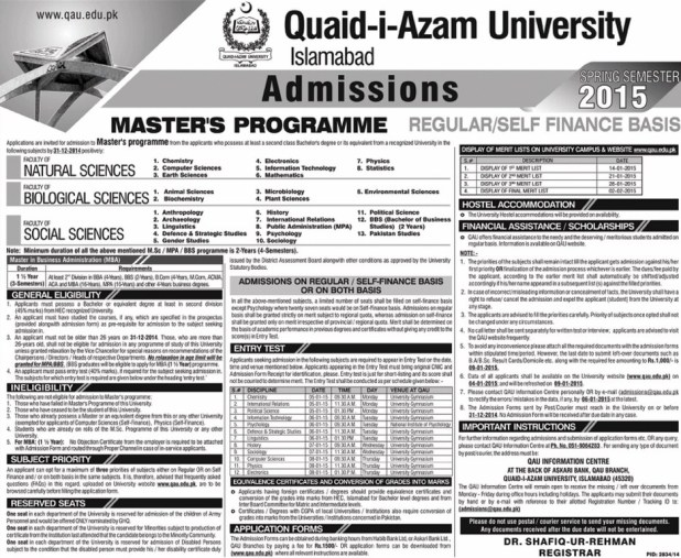 qau Master's programme