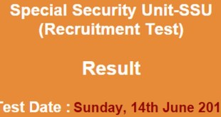 Special Security Unit-SSU result of NTS Test