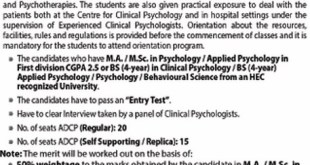 Clinical Psychology admission in University of Punjab